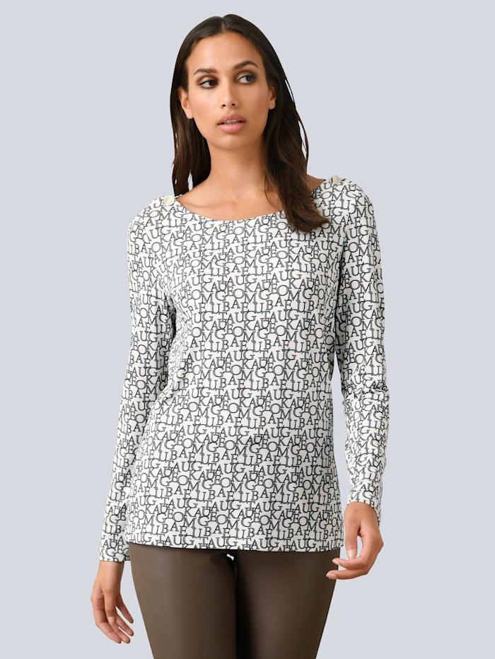 Alba Moda Shirt mit Buchstabenprint allover, Off-white/Taupe/Schwarz