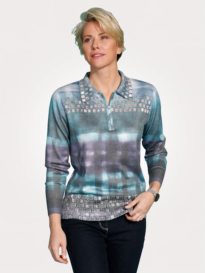 DiStrick Pull-over à col polo, Turquoise/Lilas