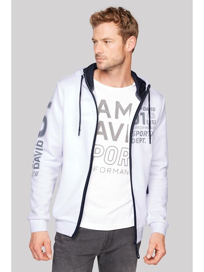 Camp David Kapuzensweatjacke mit Metallic Artworks, opticwhite