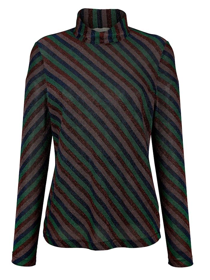 Shirt met strepen van glanzende jersey