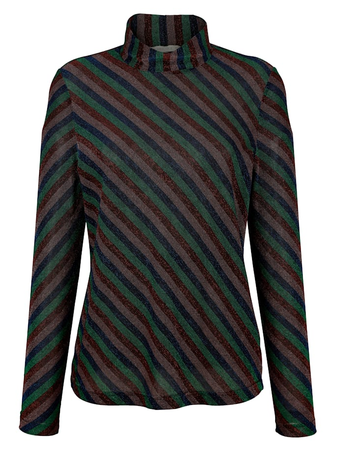 Shirt mit Streifen aus Glanzjersey