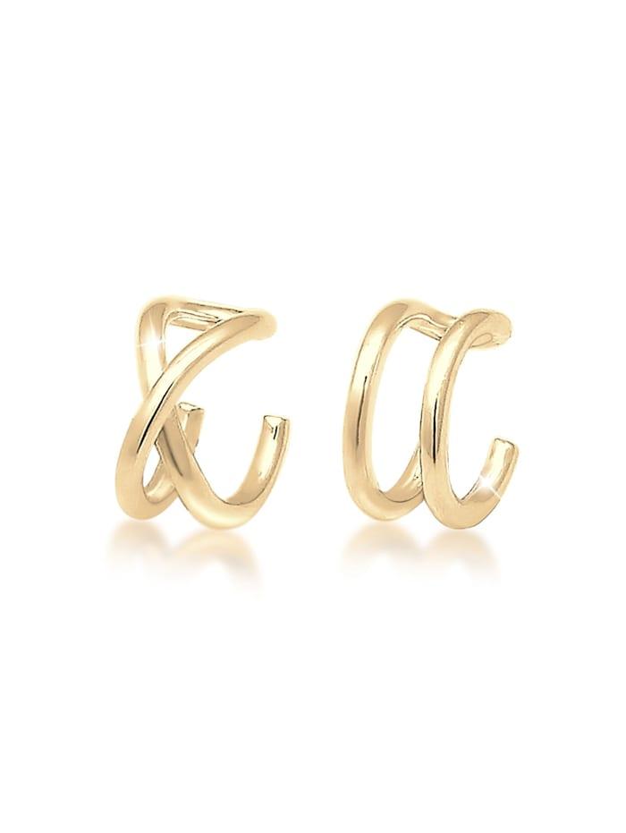 Elli Ohrringe Basic Trend Set Earcuff Klemme Minimal 925 Silber, Gold