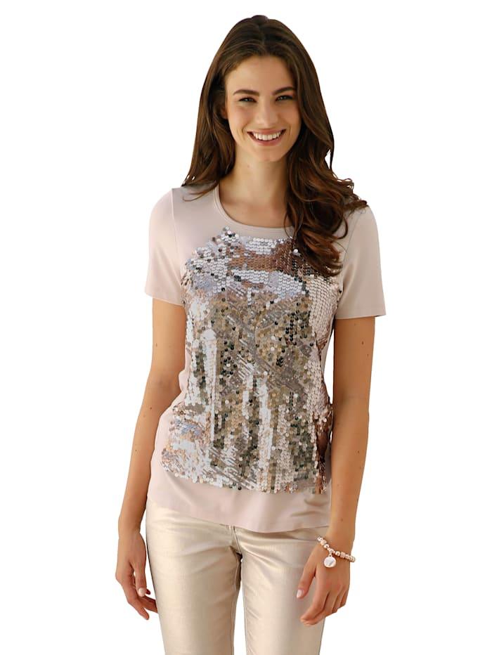 AMY VERMONT Shirt mit paillettenbesetztem Vorderteil, Beige