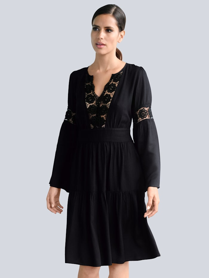 Alba Moda Strandkleid mit Spitze, Schwarz