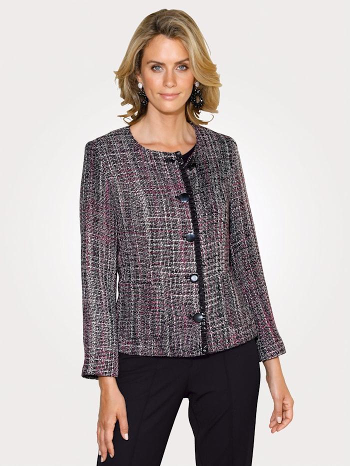 MONA Blazer in Struktur-Qualität, Schwarz/Pink