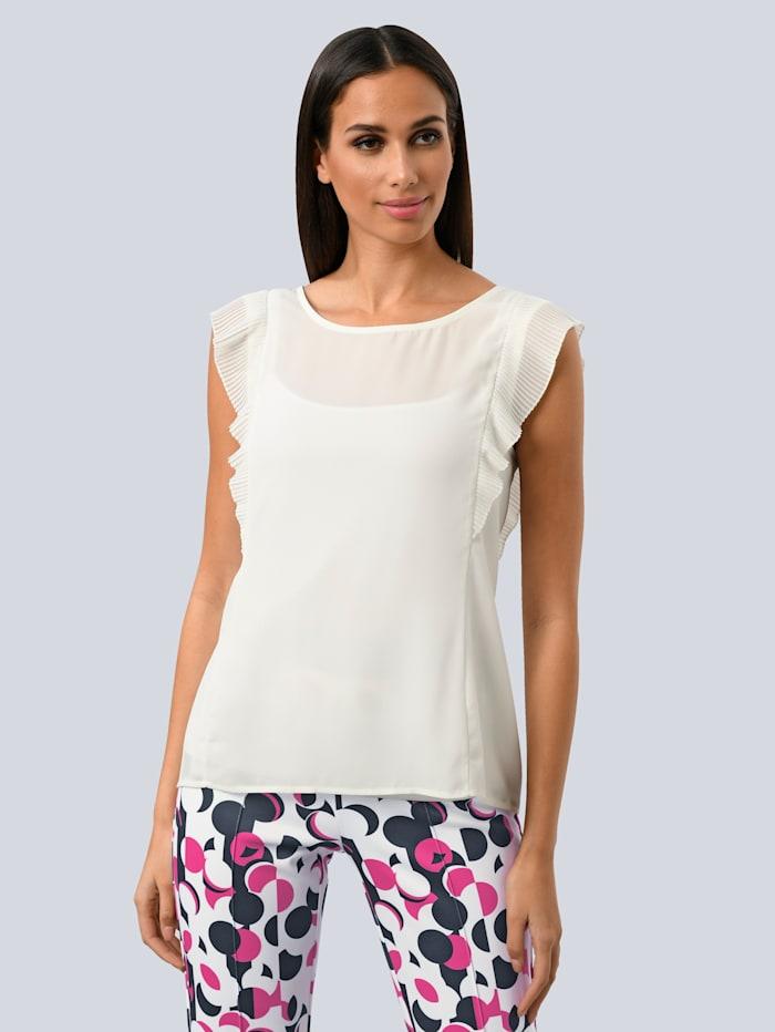 Alba Moda Top aus plissierter Ware, Weiß