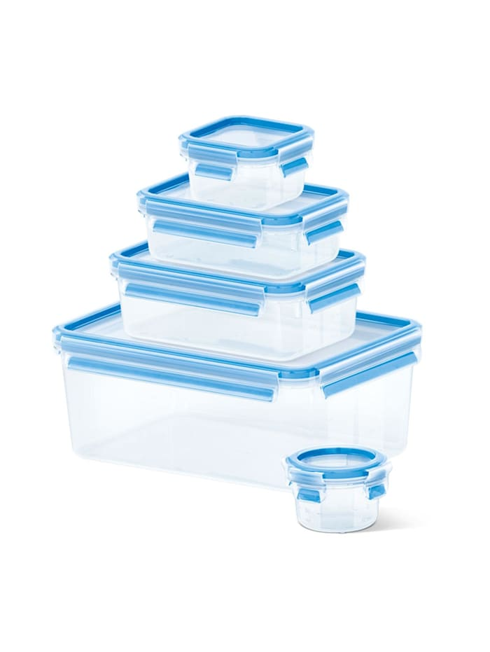 EMSA Dosen-Set 5er Set 3D Perfect Clean Clip   Close, Transparent, Blau