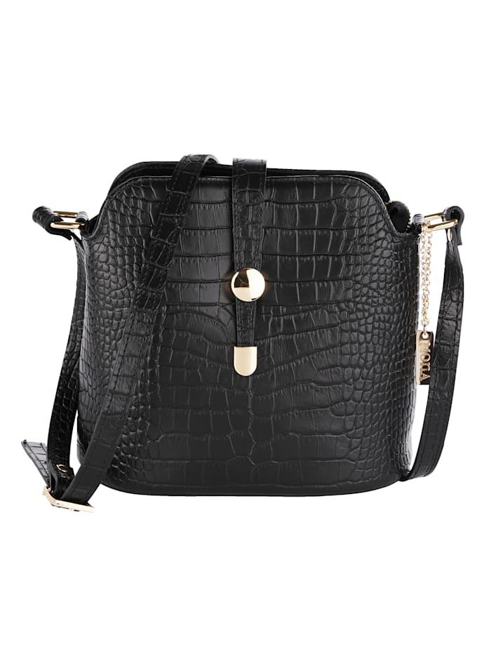 MONA Shoulder bag made from embossed leather, Black
