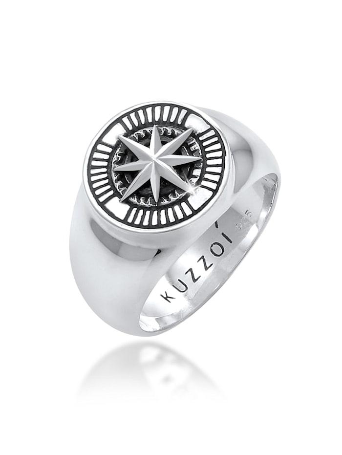 Kuzzoi Ring Herren Siegelring Kompass Maritim 925 Silber, Silber