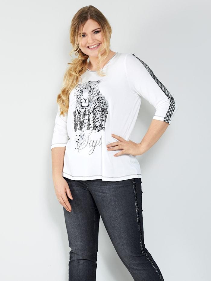 Sara Lindholm Shirt met animalmotief, Offwhite/Zwart