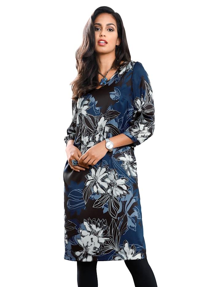 AMY VERMONT Kleid mit floralem Muster, Marineblau/Blau/Off-white