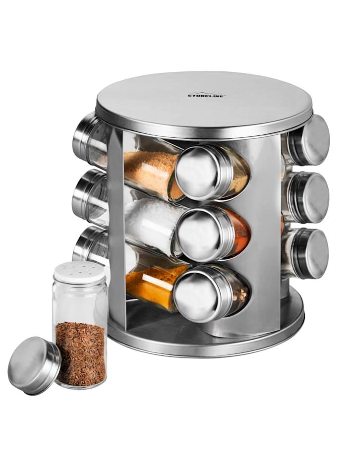 Stoneline Kryddställ med 12 kryddburkar av glas, silverfärgad