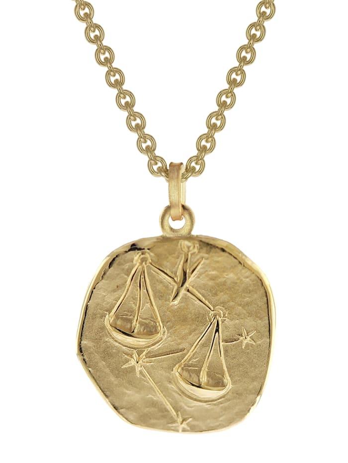 trendor Waage Sternzeichen Anhänger Herren-Halskette Gold auf Silber, Goldfarben
