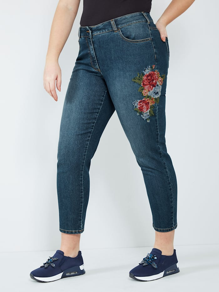 Sara Lindholm Jeans met bloemenborduursel, Blue stone