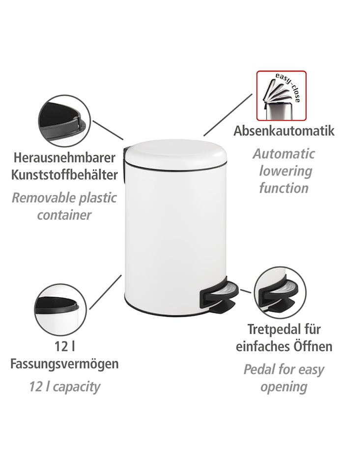 Treteimer Leman Easy Close Weiß 12 L