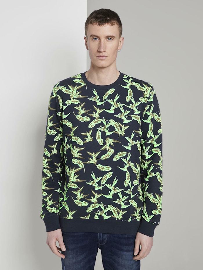 Tom Tailor Denim Sweatshirt mit tropischem Print, navy green leaf plant print
