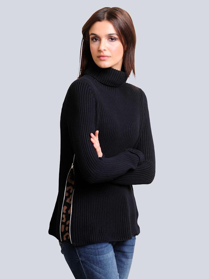 Alba Moda Pullover mit effektvoller Verarbeitung an den Seiten, Marineblau/Cognac