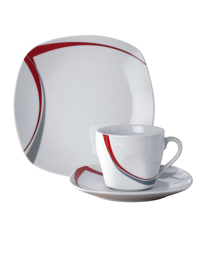 "Van Well 18tlg. Kaffeeservice ""Casa"", weiß/rot/grau"