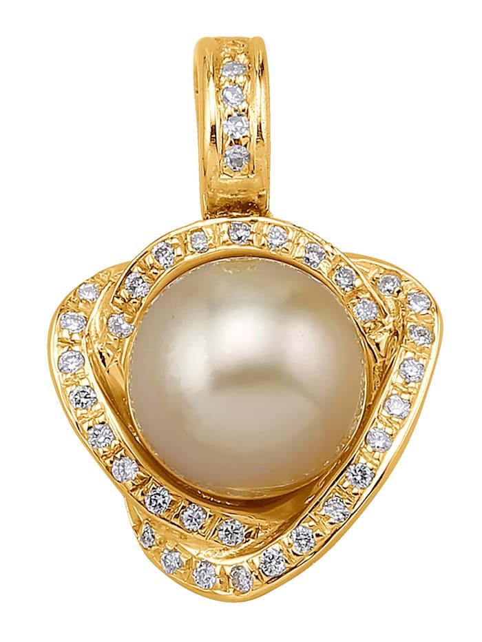 Amara Perles Pendentif à clipser avec perle de culture des mers du Sud, Jaune