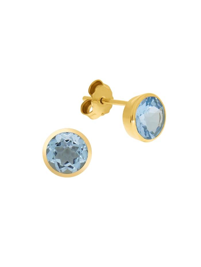 Fascination by Ellen K. Ohrstecker 375/- Gold Blautopas beh. blau 0,9cm Glänzend, gelb