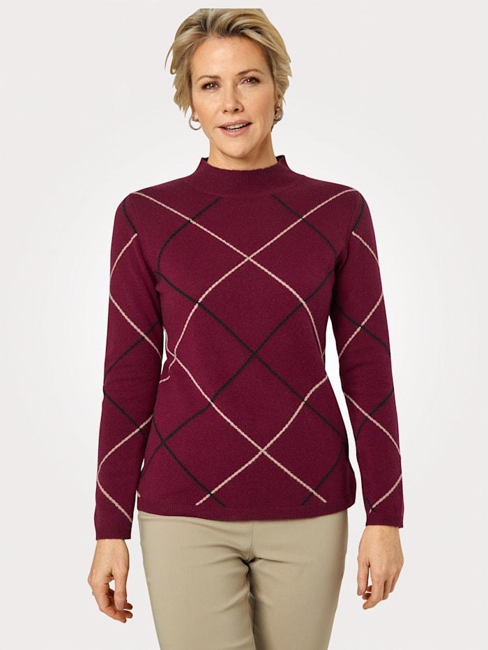 MONA Pullover aus reinem Kaschmir, Bordeaux/Sand/Schwarz
