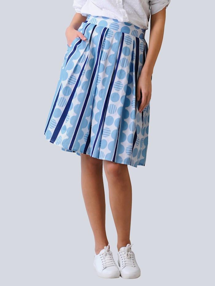 Alba Moda Rok met strepen en stippen, Marine/Blauw/Wit