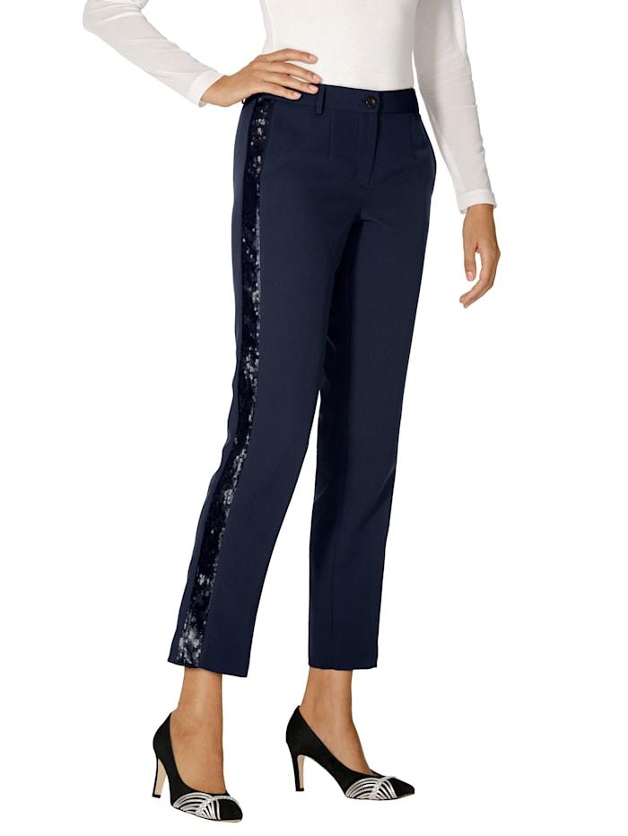 AMY VERMONT Pantalon à galon en paillettes réversibles, Bleu foncé