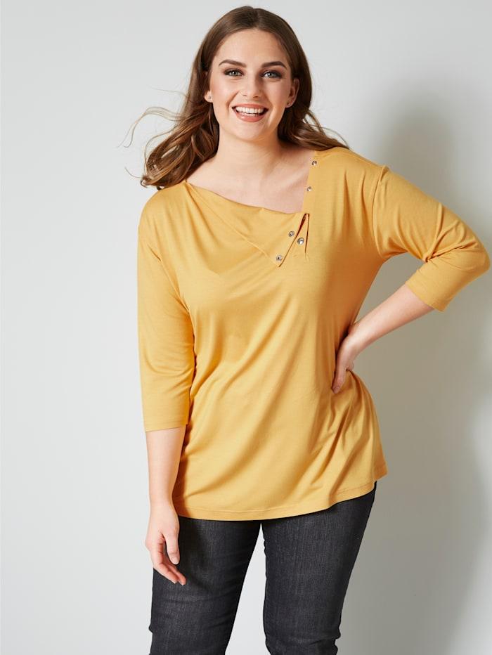 Janet & Joyce Shirt met drukknopen, Okergeel