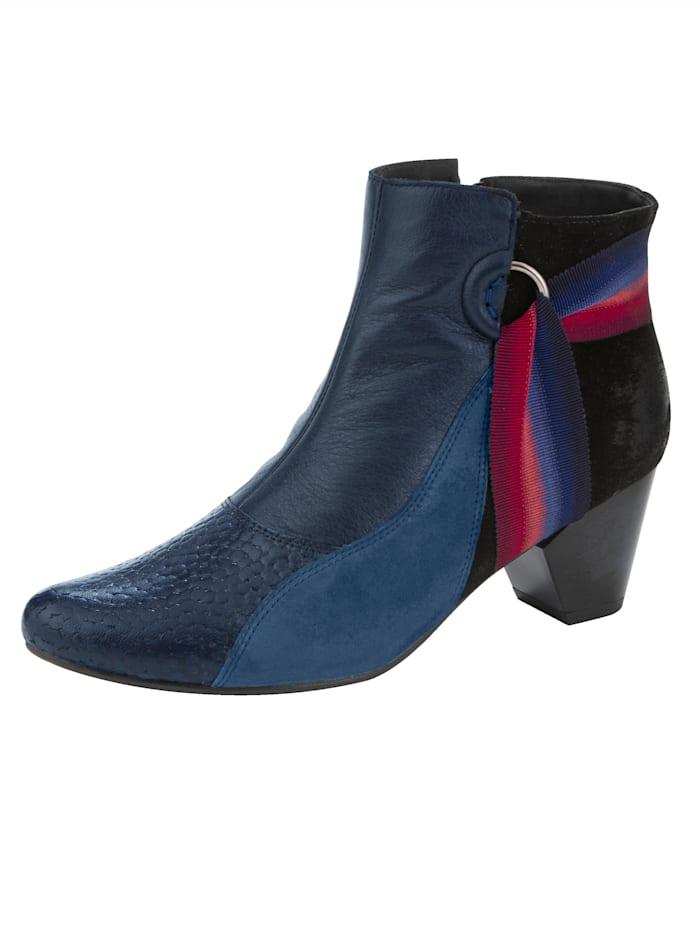 MACIEJKA Stiefelette mit farblich abgesetzten Ripsband, Blau