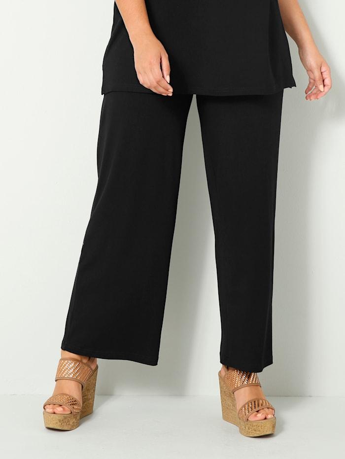 Sara Lindholm Jersey broek van soepelvallend materiaal, Zwart
