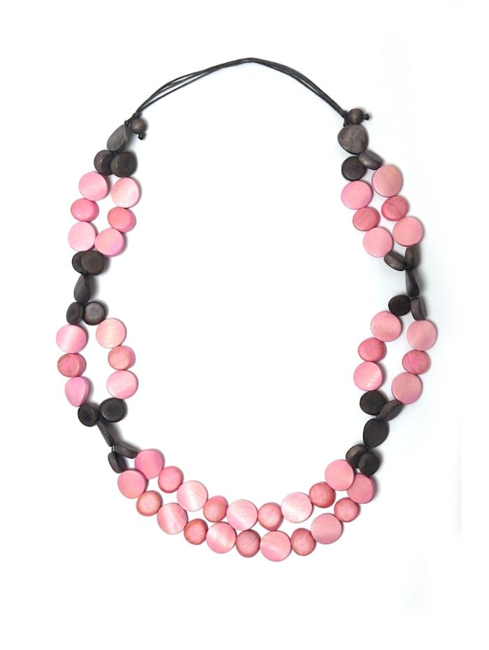 Collezione Alessandro Lange Kette Mona mit flachen Holzperlen, rosa