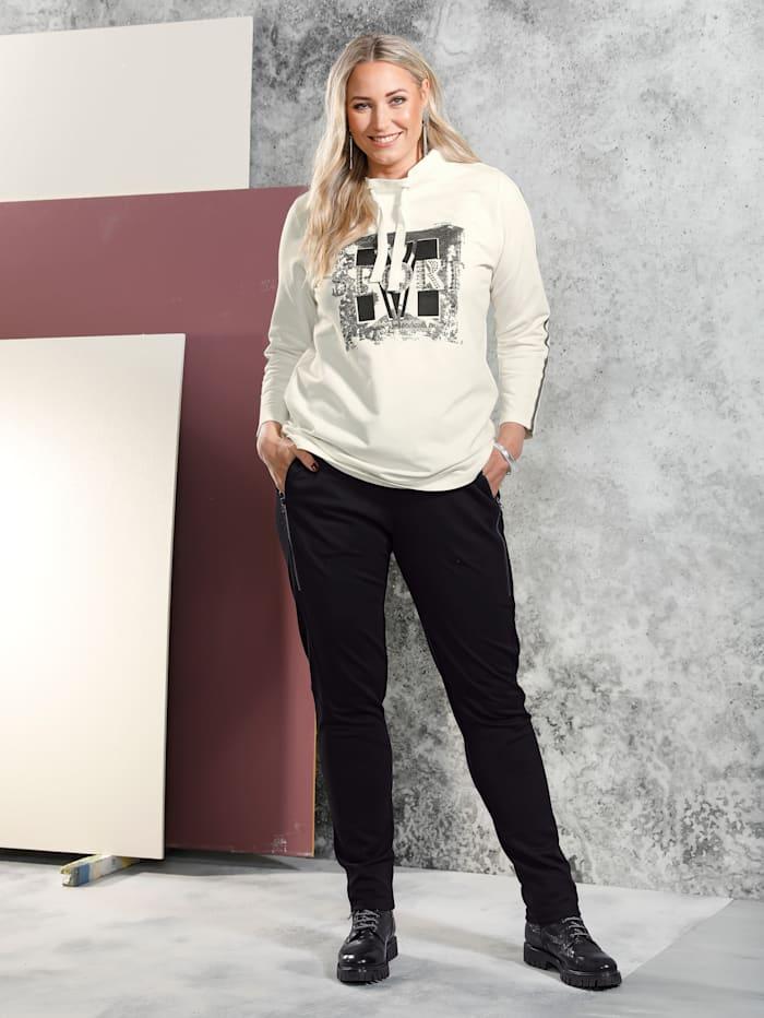 MIAMODA Sweatshirt mit Foliendruck im Vorderteil, Creme-Weiß