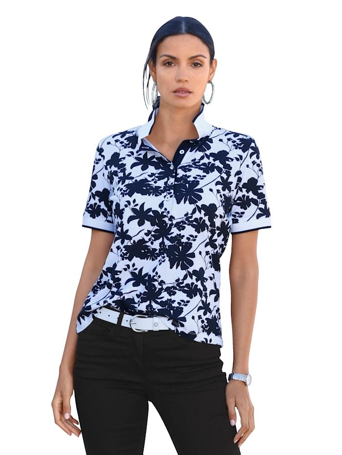 AMY VERMONT Polo à motif floral devant et dos, Noir/Blanc