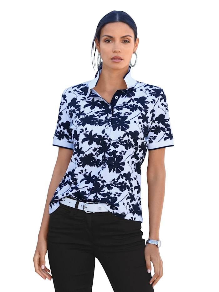 AMY VERMONT Poloshirt mit floralem Muster allover, Schwarz/Weiß