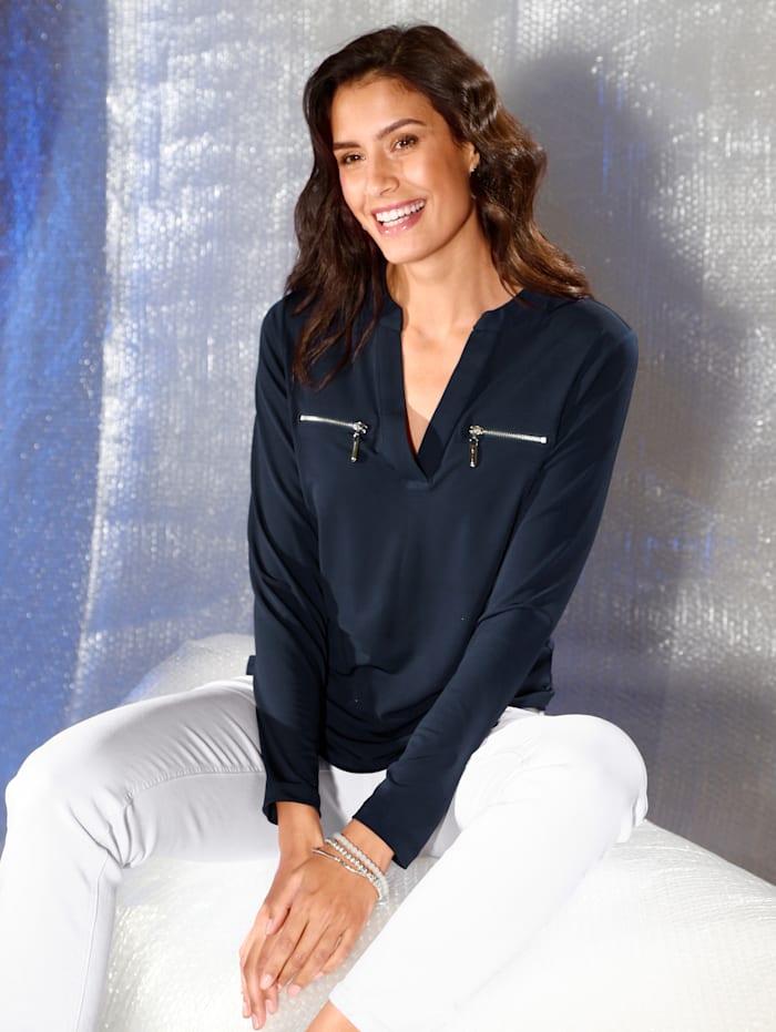 AMY VERMONT Shirt mit dekorativen Reißverschlüssen, Marineblau