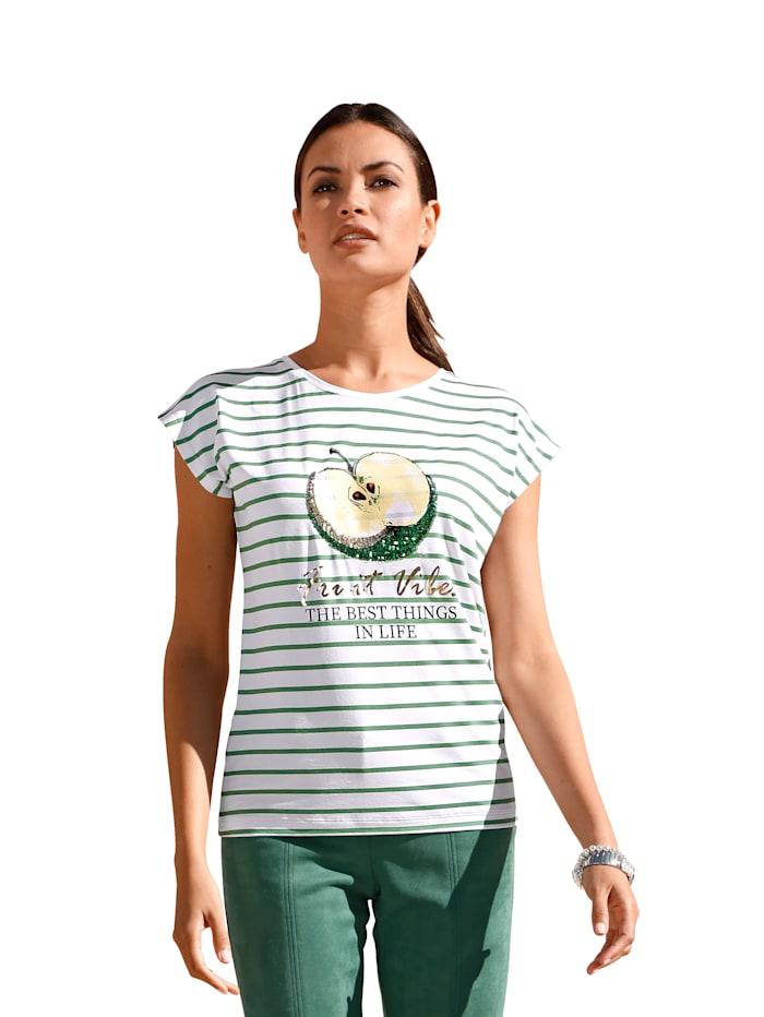 AMY VERMONT Shirt mit Druck im Vorderteil, Weiß/Grün