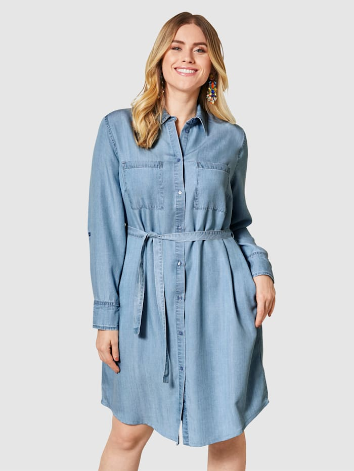 Sara Lindholm Kleid aus reinem Lyocell, Light blue