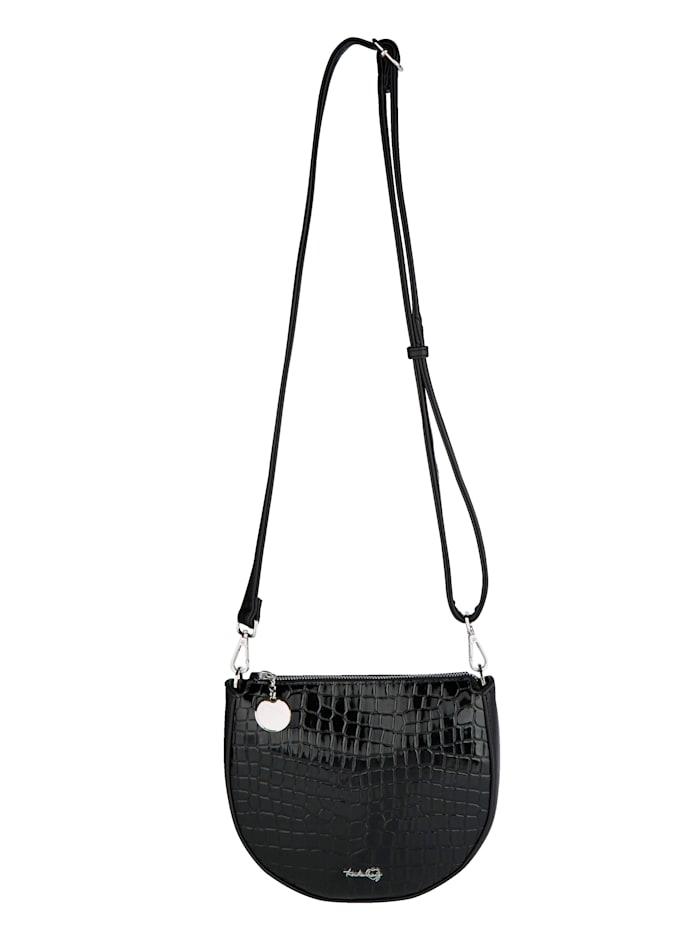 Taschenherz Schoudertas met mooi krokoreliëf, Zwart