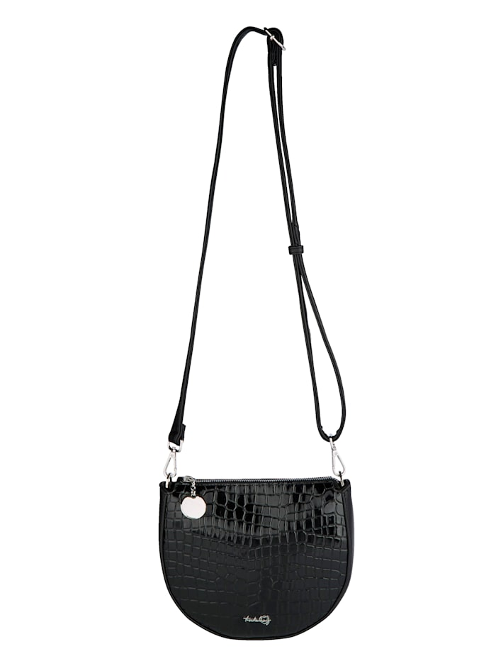 Taschenherz Umhängetasche mit schöner Krokoprägung, Schwarz