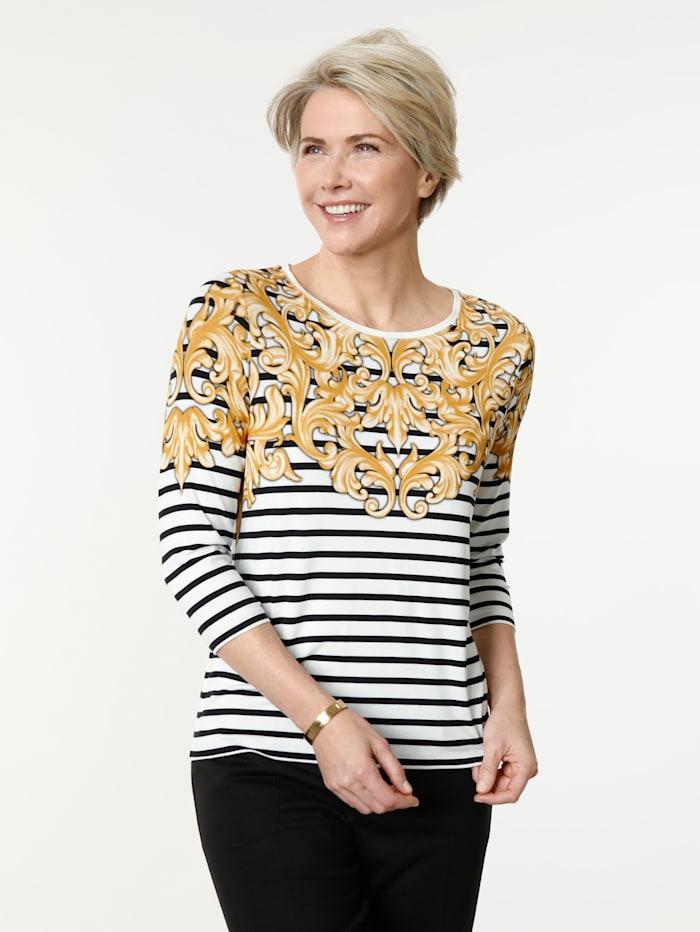 MONA Shirt in angenehmer Viskose- Mischung, Ecru/Schwarz/Ockergelb
