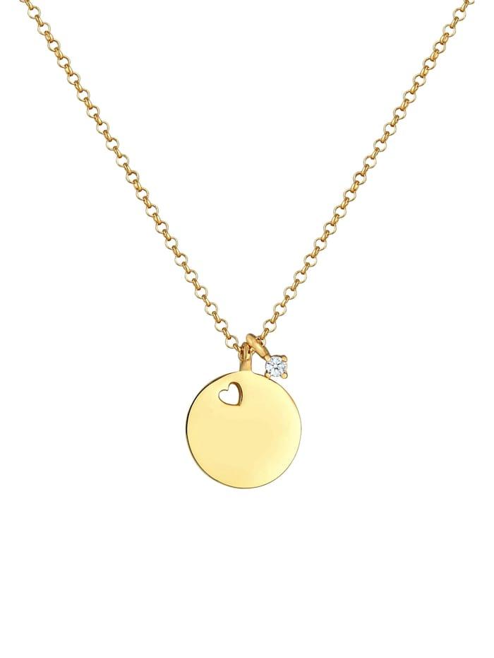 Halskette Plättchen Herz Diamant Solitär (0.03Ct) 925 Silber