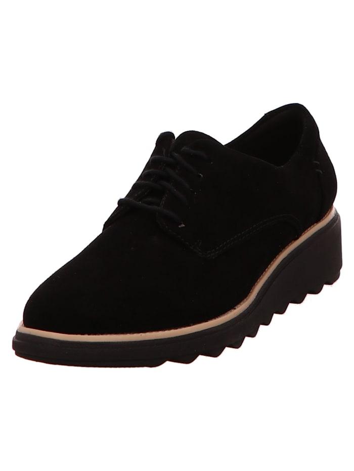 Clarks Damen Schnürschuh in schwarz, schwarz