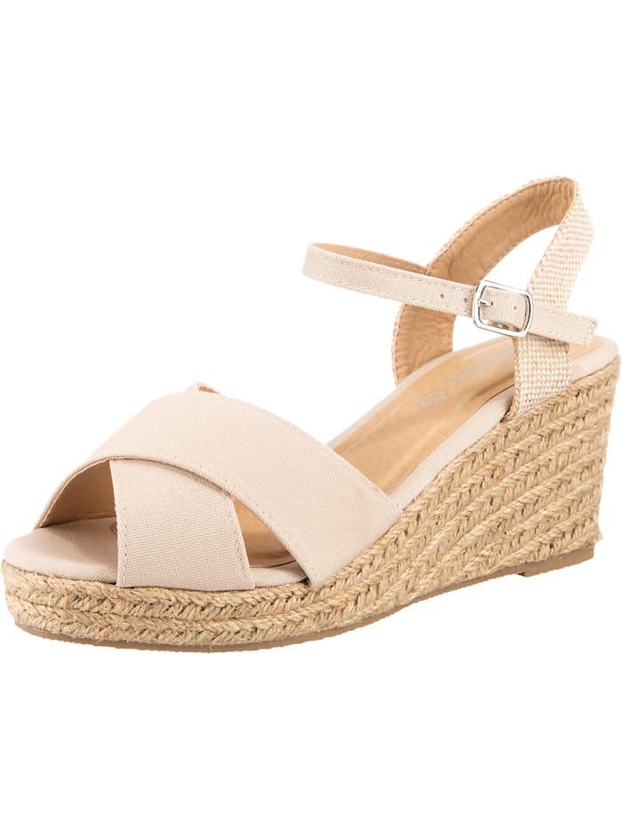 ambellis Peeptoe-Sandalette mit Keilabsatz, sand