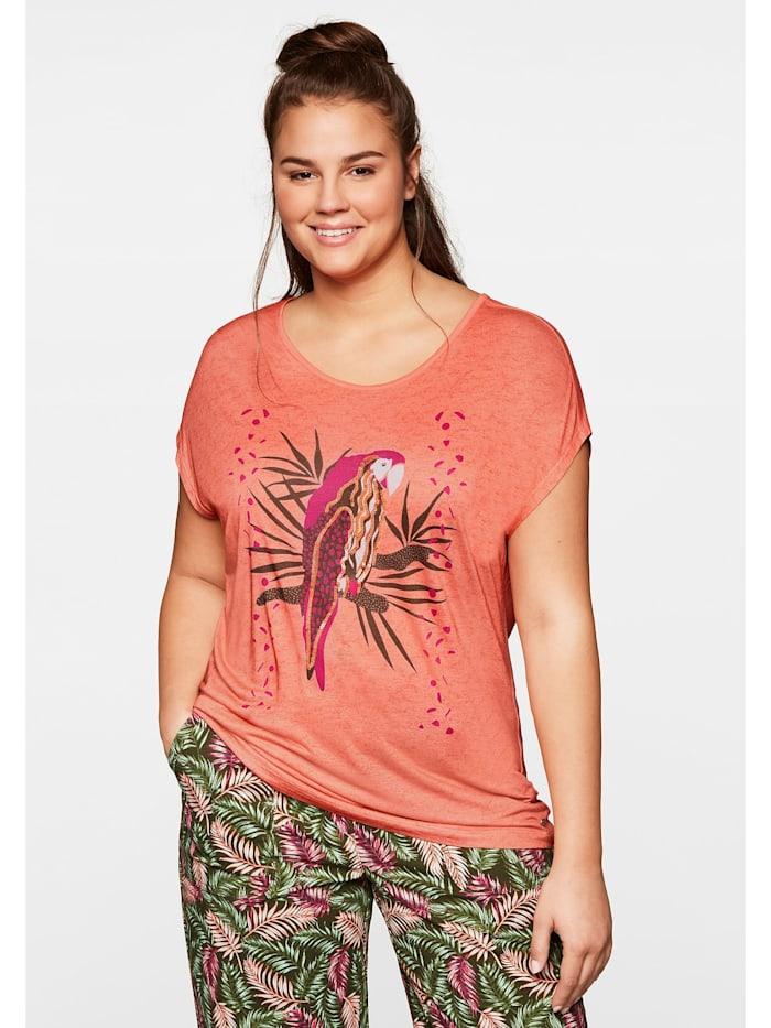 Sheego Sheego T-Shirt mit tropischem Druck, lachs