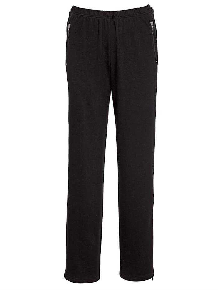Harmony Freizeithose mit durchgehendem Reißverschluss seitlich, schwarz