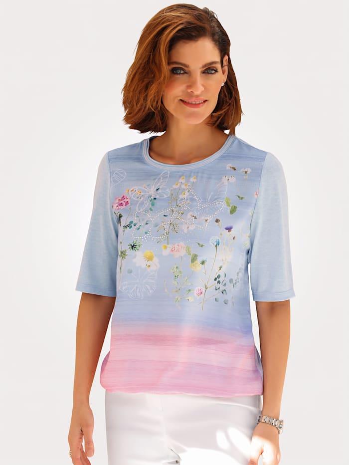 Rabe T-shirt en matière tissée devant, Bleu ciel/Rose