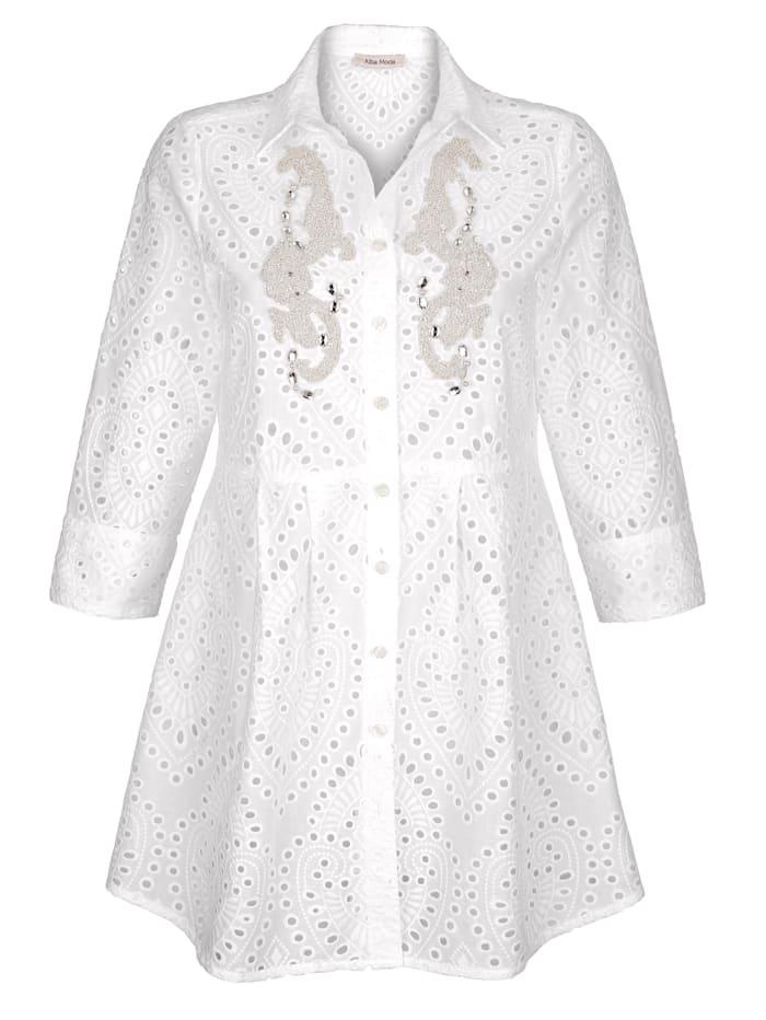 Alba Moda Bluse mit dekorativer Lochspitze, Weiß