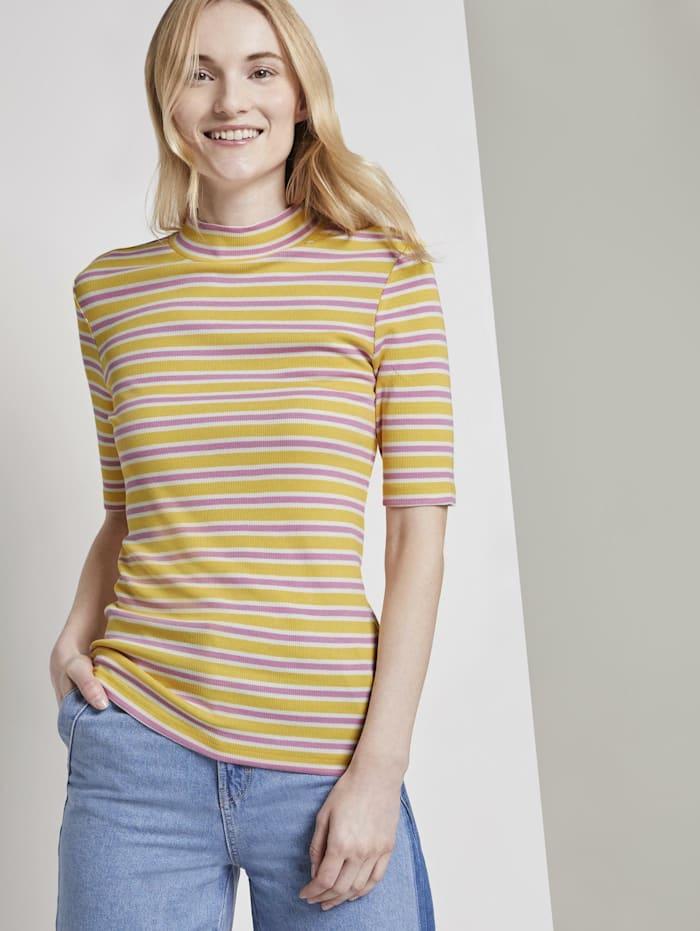 Tom Tailor Denim Gestreiftes T-Shirt mit Stehkragen, yellow pink stripe