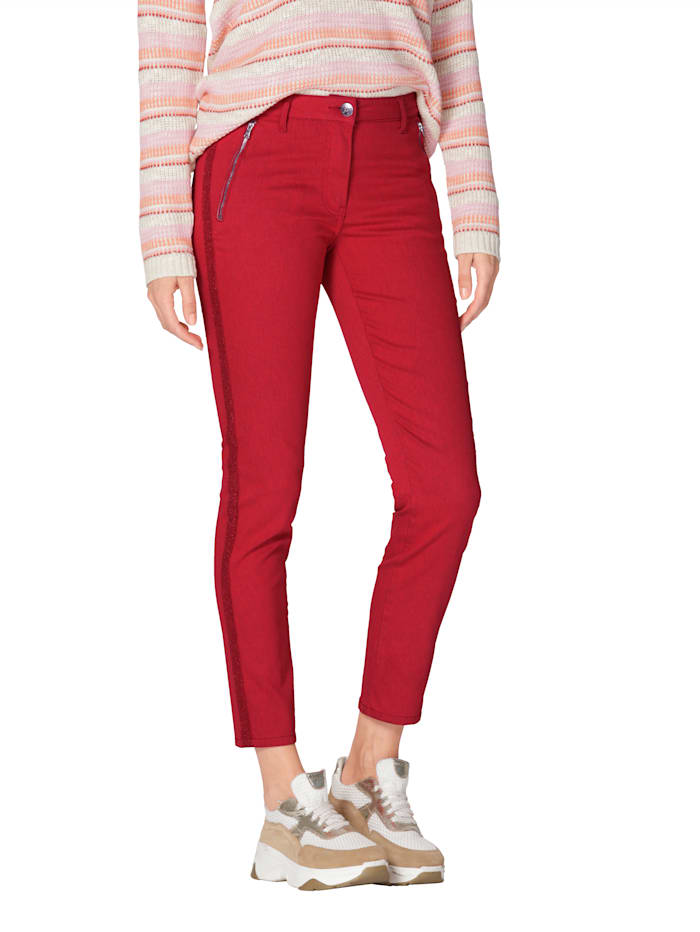 AMY VERMONT Jeans met sierband opzij, Rood