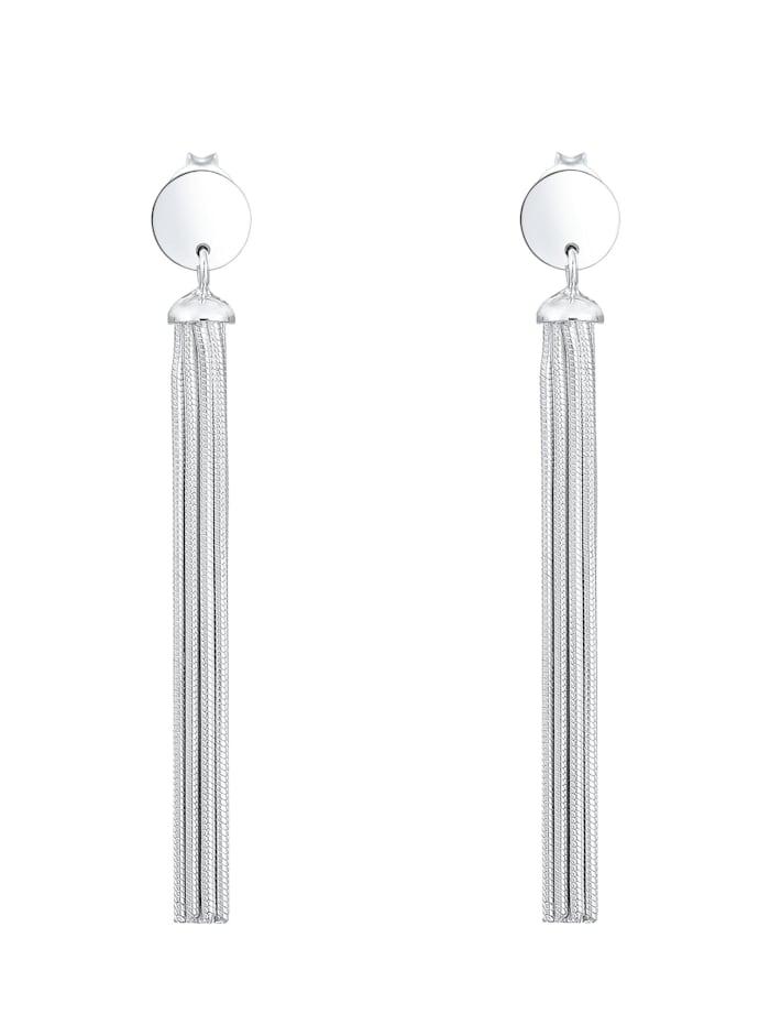 Ohrringe Hänger Schlangenkette Kreis Basic Geo 925Er Silber